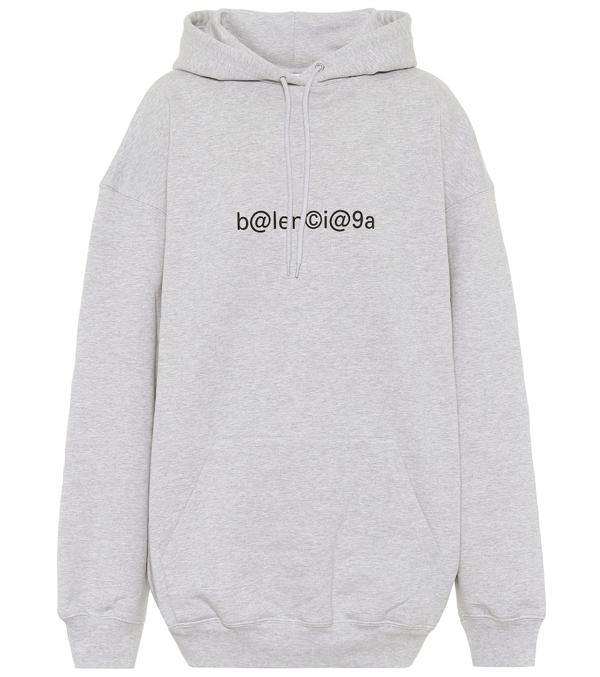 Balenciaga Symbolic Logo Oversize Cotton Hoodie In 1167-heather Grey/ Black