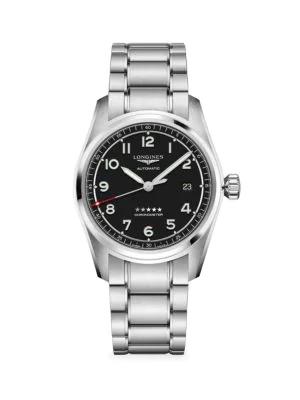 Longines Spirit Stainless Steel Bracelet Watch In Black