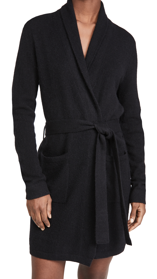 White + Warren Cashmere Robe In Black