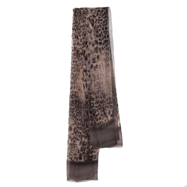 Pre-owned Fendi Leopard Print Zucca Silk Scarf In Beige