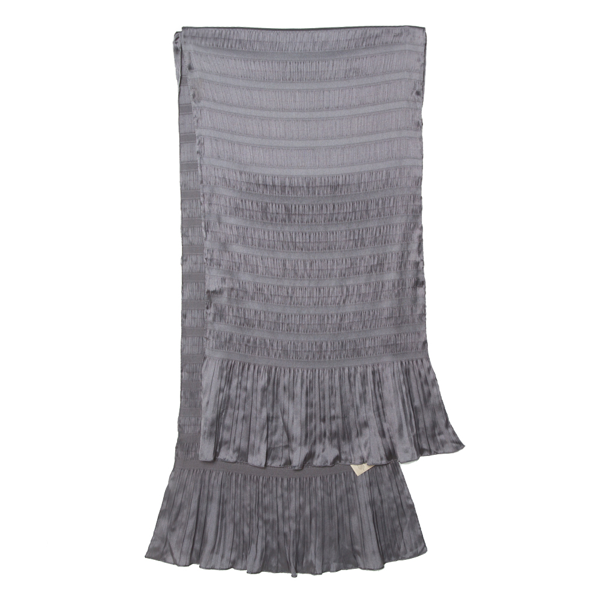 Pre-owned Burberry Grey Stretch Silk Pleat Paneled Scarf
