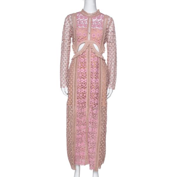 Pre-owned Self-portrait Beige & Pink Floral Lace Payne Cutout Dress M