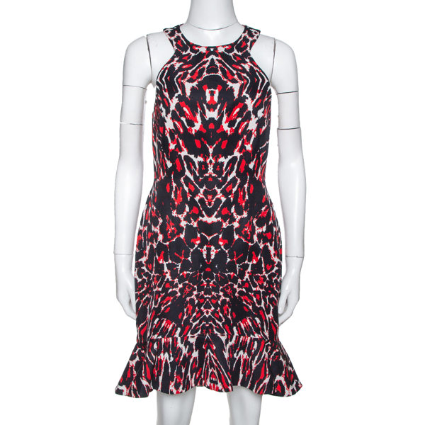 Pre-owned Alexander Mcqueen Mcq By  Red & Black Print Sleeveless Bodycon Dress S