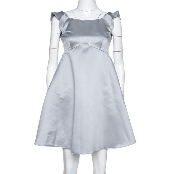 Pre-owned Emporio Armani Grey Satin Pleated Sleeve Mini Dress S