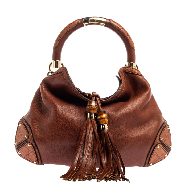 Pre-owned Gucci Brown Leather Medium Babouska Indy Hobo