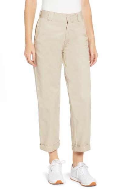 Dickies Crop Work Pants In Khaki