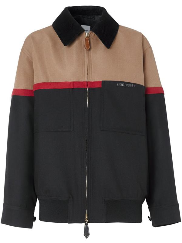 Burberry Colour Block Wool Harrington Jacket In Black