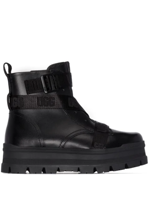 Ugg Sid Chunky-sole Waterproof Leather Boots In Black
