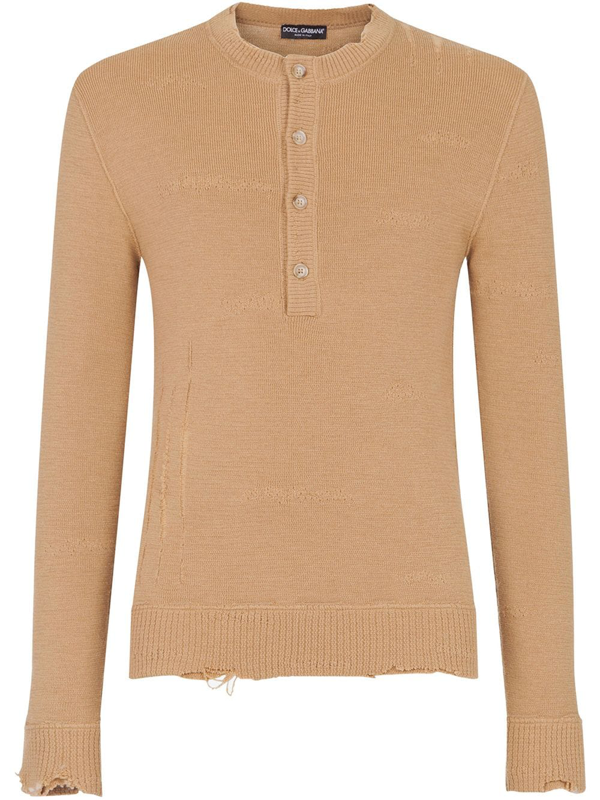 Dolce & Gabbana Distressed-effect Half-button Jumper In Neutrals