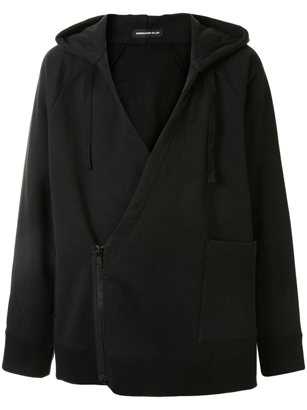 Undercover V-neck Cotton Hoodie In Black