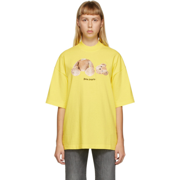 Palm Angels Bear Motif Logo Print T-shirt In Yellow/brwn