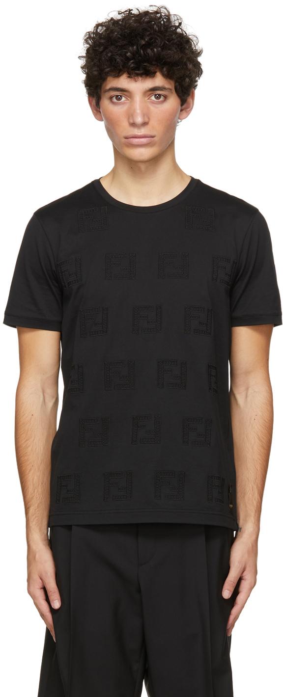 Fendi Logo-embroidered Cotton-jersey T-shirt In F0qa1 Black