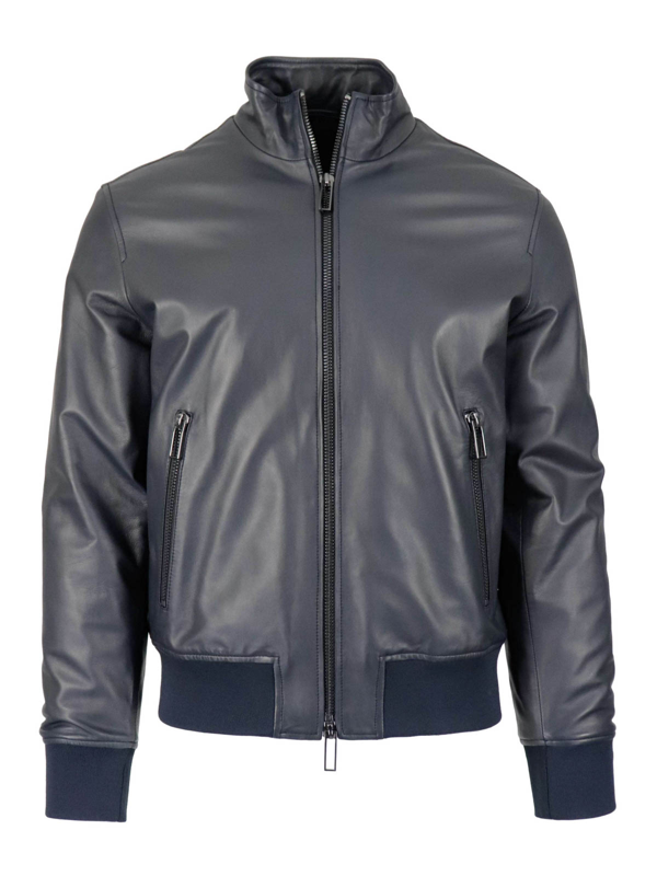 Emporio Armani Leather Bomber Jacket In Dark Blue