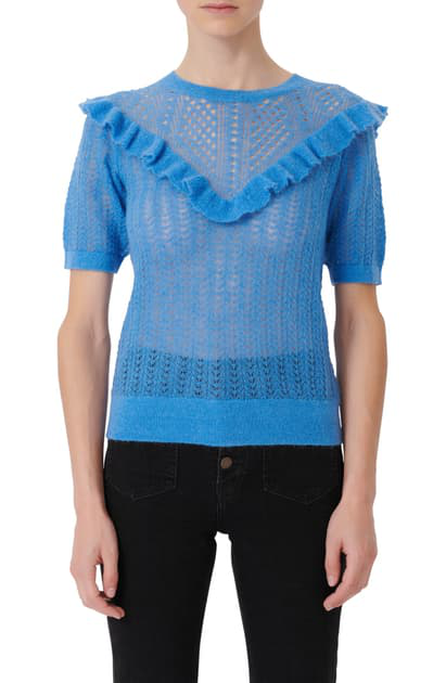 Maje Mohair Openwork Knit Sweater With Ruffles In Blue