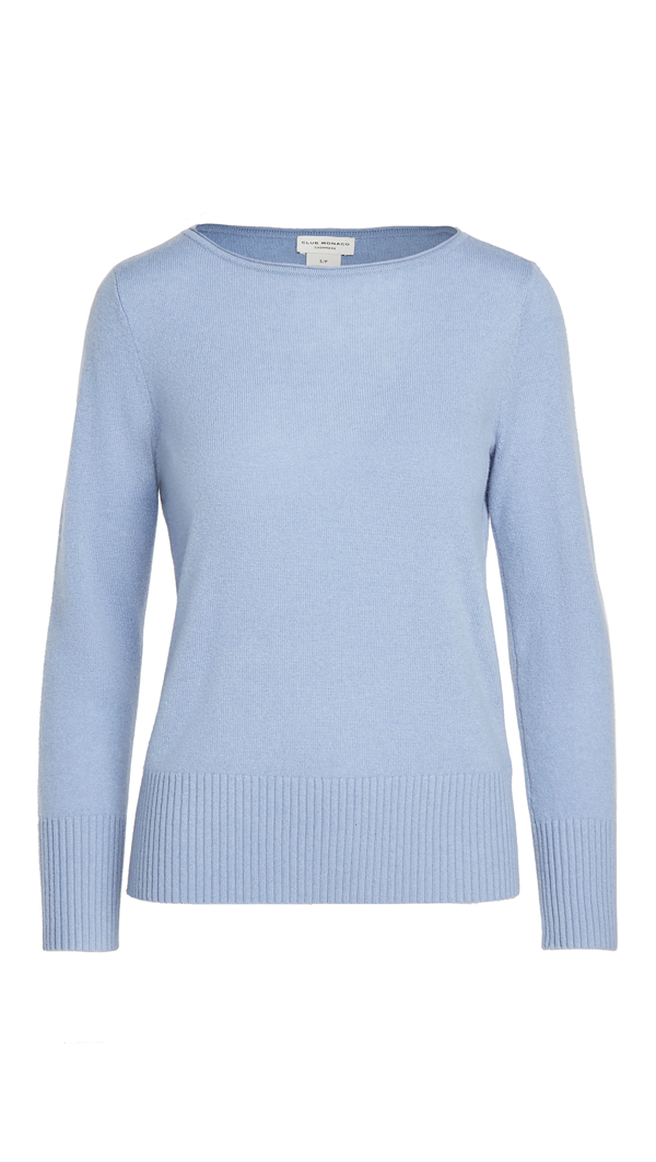 Club Monaco Cerulean Blue Essential Cashmere Open Neck Sweater In Size S