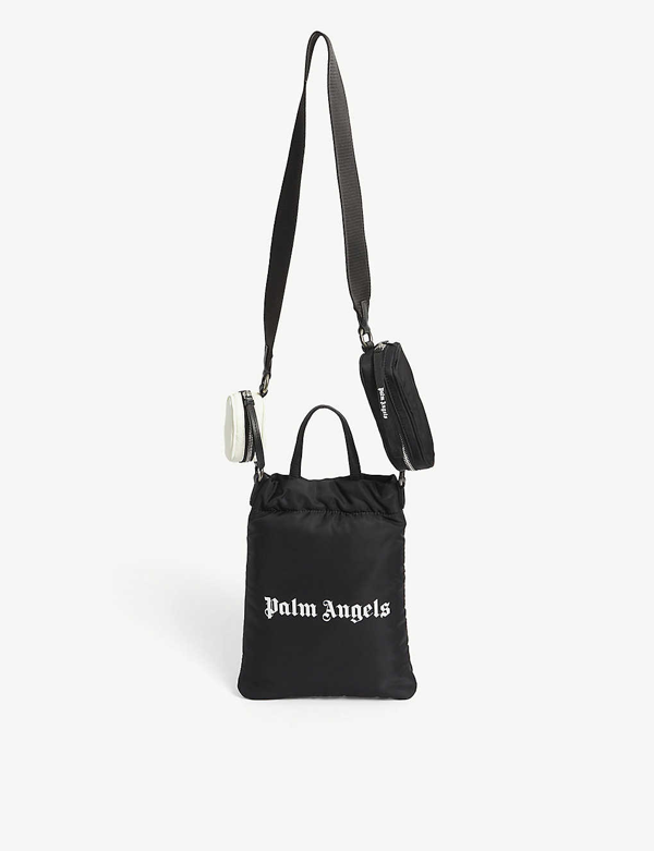 Palm Angels Logo Print Nylon Mirror Shopping Bag In Black