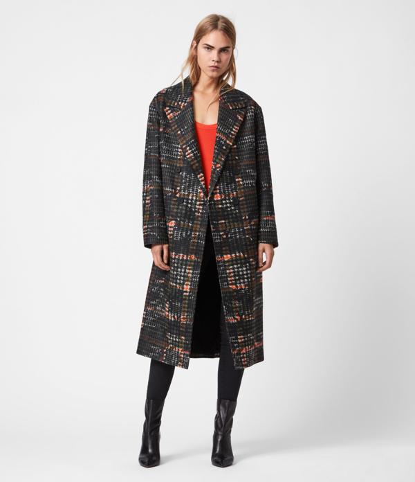 Allsaints Women's Check Lottie Camo Coat In Black/orange