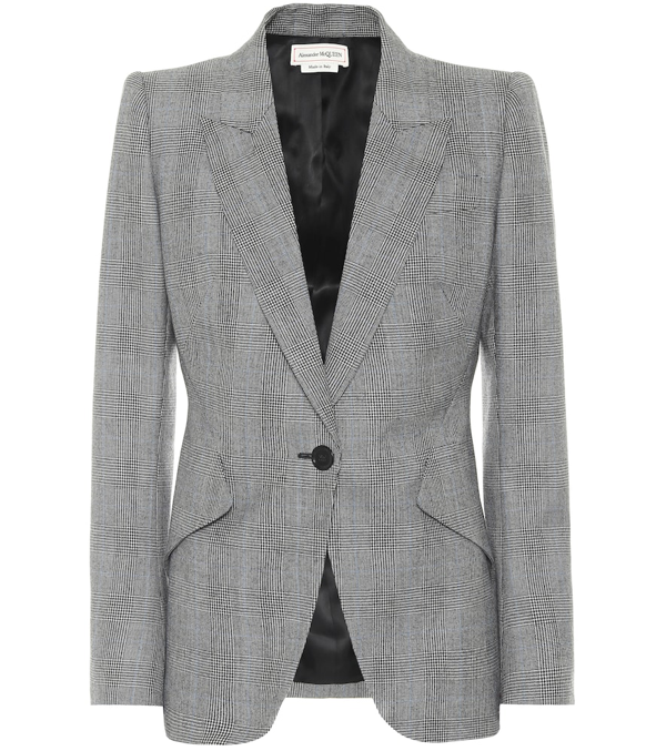 Alexander Mcqueen Checked Wool And Cashmere Blazer In Black