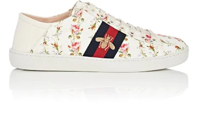59279bd99 Gucci New Ace Rose-Print Foldable-Heel Canvas Trainers In Pink White ...