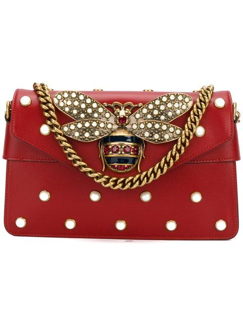 30f7cad4a96 Gucci Broadway Bee Embellished Leather Bag In 8024 Red