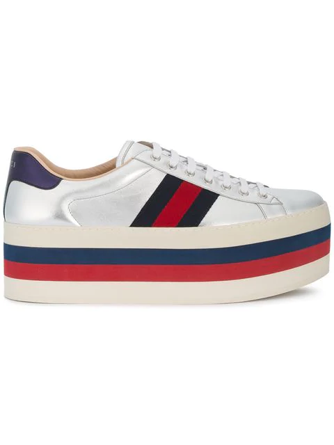Gucci 80Mm New Ace Leather Platform Sneakers In Metallic