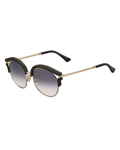 0cd99a3120e02 Jimmy Choo Lash Gold Black Glitter Cat-Eye Sunglasses With Interchangeable  Clip-Ons In