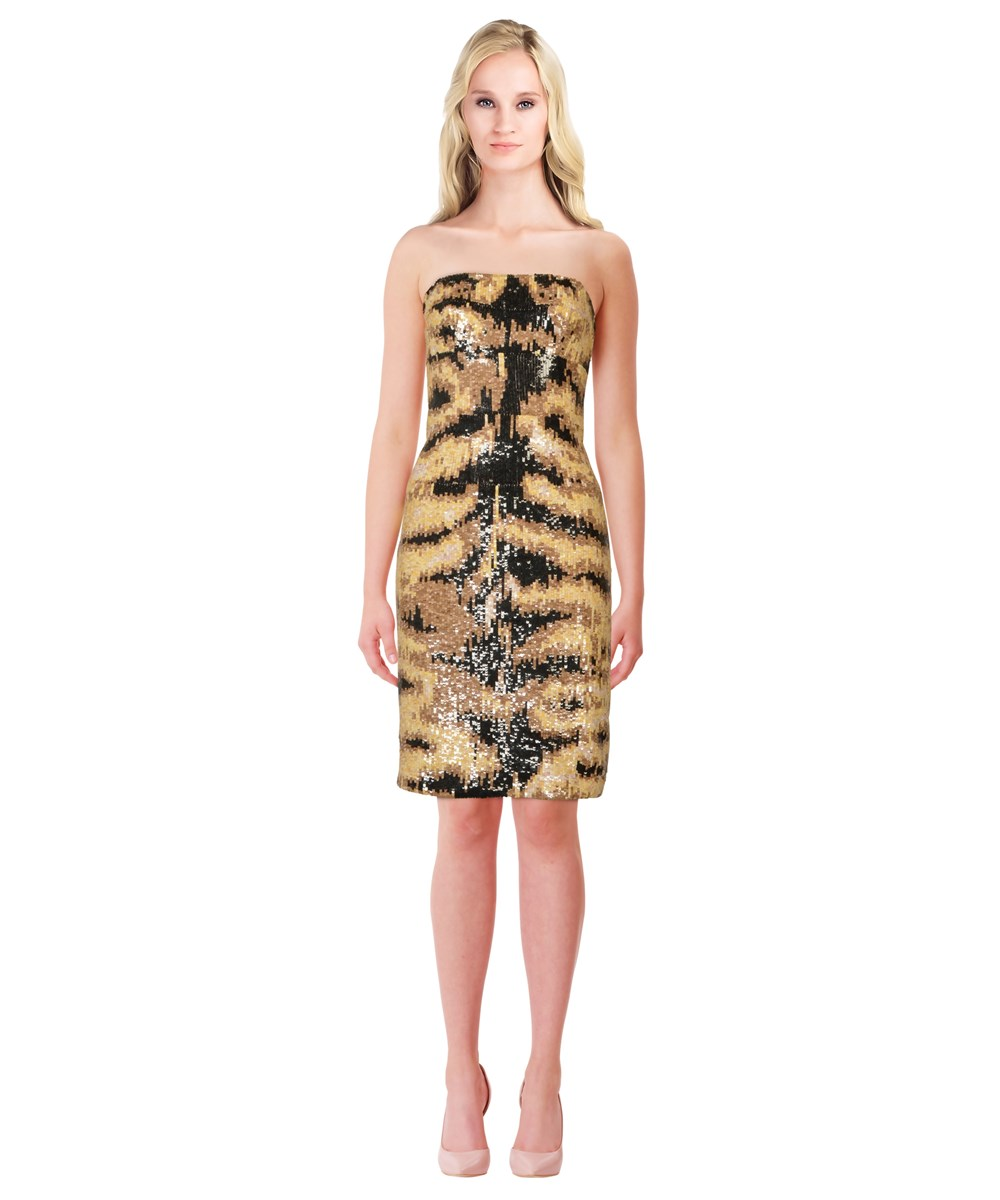 Kaufmanfranco Sequined Silk Sheath Dress In Multiple Colors