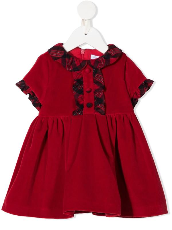 Patachou Babies' Tartan Trim Dress (6-24 Months) In Red