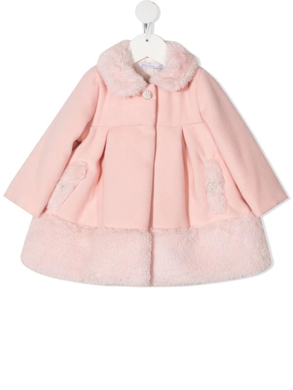Patachou Babies' Faux Fur Trim Coat (3-24 Months) In Pink