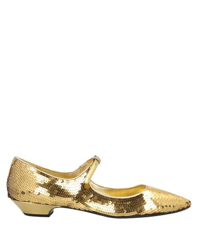 Miu Miu Sequined Leather Point-toe Flats In Gold