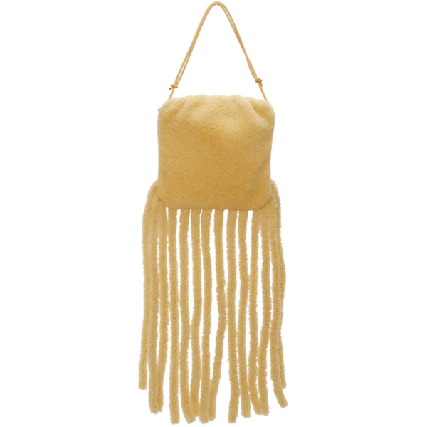Bottega Veneta The Fringe Pouch Shearling-trimmed Leather Shoulder Bag In Beige