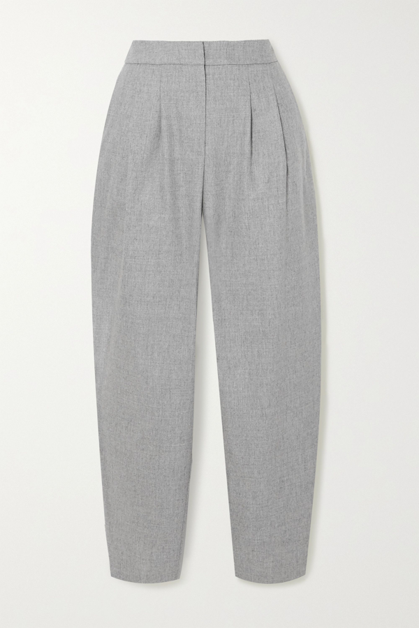Loulou Studio Farina Pleated Wool-blend Tapered Pants In Gray