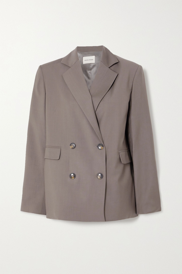 Loulou Studio Tatakoto Double-breasted Wool Blazer In Gray