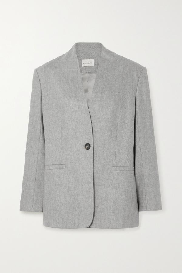 Loulou Studio Wool-blend Blazer In Gray