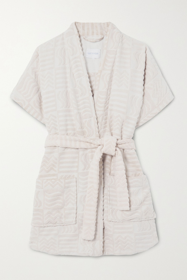 Lucy Folk Horizon Belted Cotton-terry Robe In Ecru