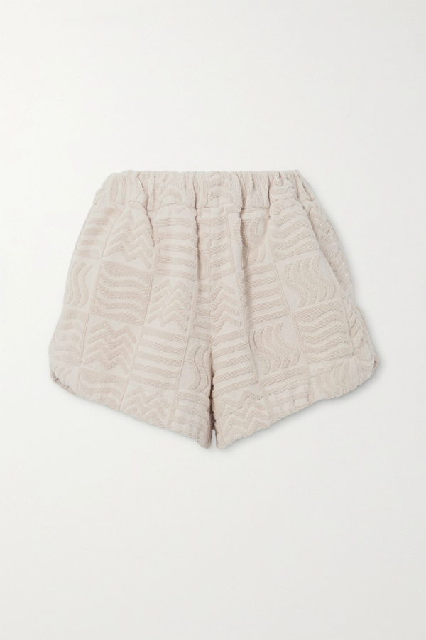 Lucy Folk Cabana Cotton-terry Shorts In Ecru