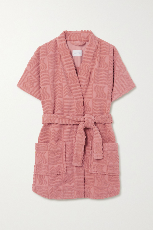 Lucy Folk Horizon Belted Cotton-terry Robe In Antique Rose