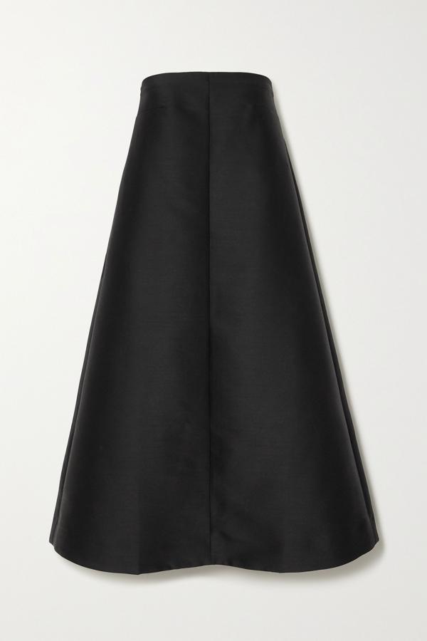 Totême Sabadell Strapless Duchesse-satin Midi Dress In Black