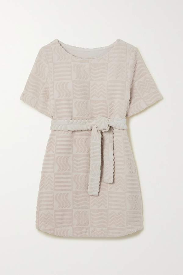 Lucy Folk Belted Cotton-blend Terry Mini Dress In Ecru