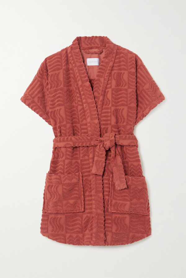 Lucy Folk Horizon Belted Cotton-terry Robe In Red