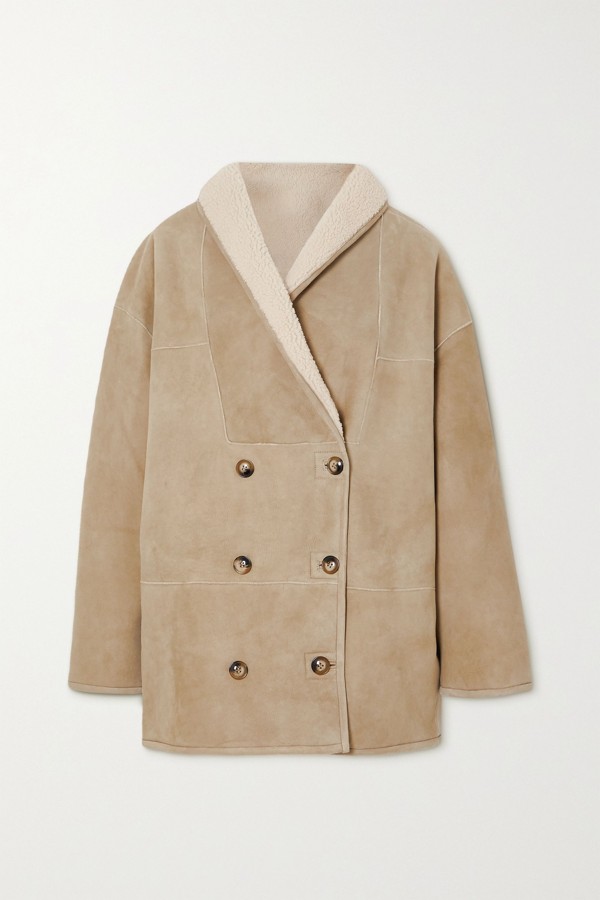 Loulou Studio Oversized Shearling Coat In Cream