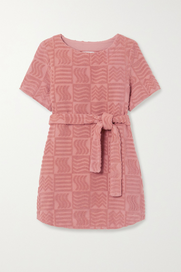 Lucy Folk Belted Cotton-terry Mini Dress In Antique Rose