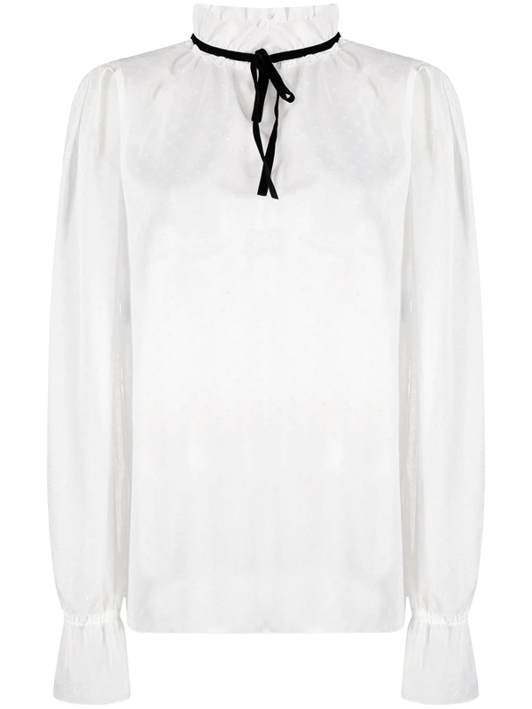 Philosophy Di Lorenzo Serafini Tie-detailed Pleated Chiffon Blouse In White