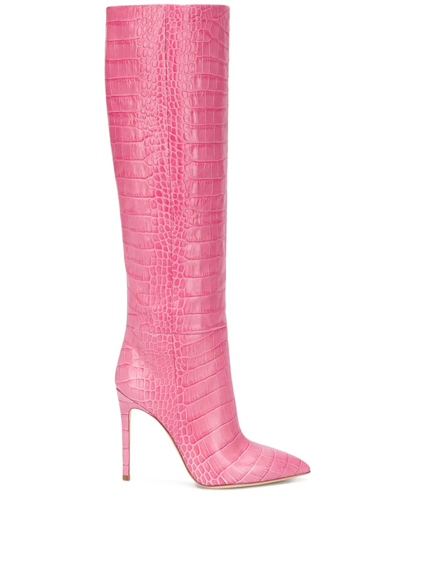 Paris Texas Croc-effect Leather Knee-high Boots In Pink