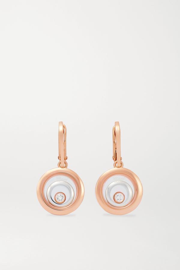 Chopard Happy Spirit 18-karat Rose And White Gold Diamond Earrings In Rose Gold