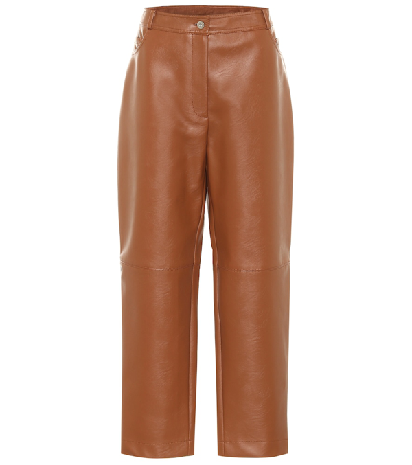 Stella Mccartney Hailey Faux Leather Straight Pants In Brown