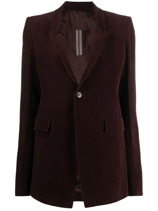 Rick Owens Corduroy Blazer In Brown