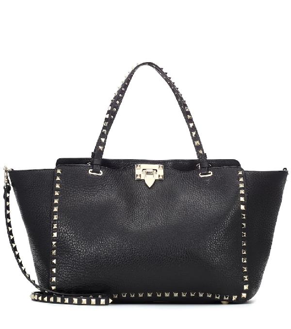 c19f5ad9e8 Valentino Medium Rockstud Grained Calfskin Leather Tote - Black ...