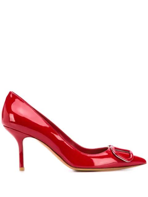 Valentino Garavani Vlogo Patent Leather Pumps In Red