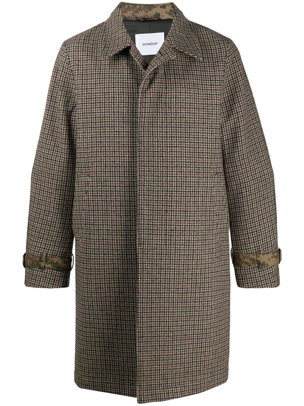 Dondup Houndstooth And Camou Patterned Coat In Multicolor In Green